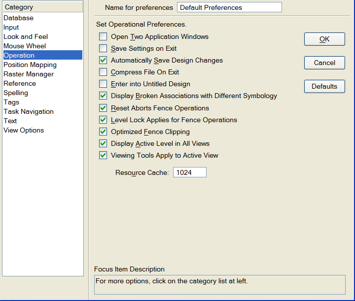 MicroStation's user preference dialog